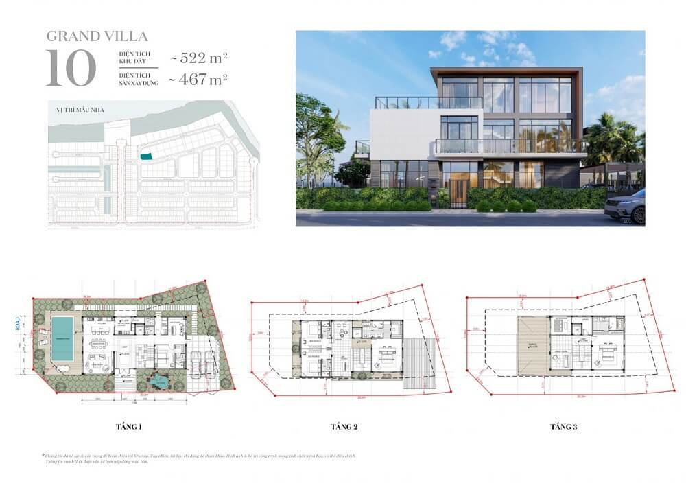 Sơ đồ mẫu nhà khu Grand Villa Rivera Nam Long