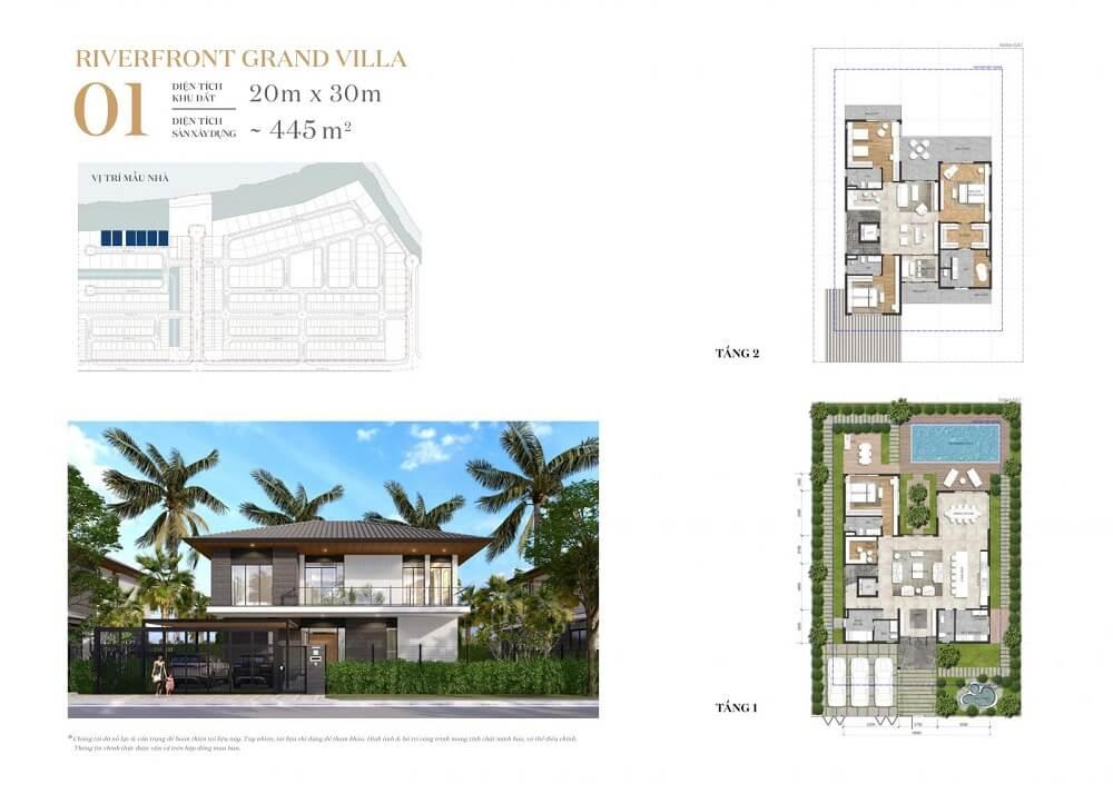 Mẫu nhà Riverfront Grand Villa phân khu Rivera 1